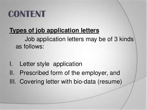 Application Letter Types Types Of Application Letter