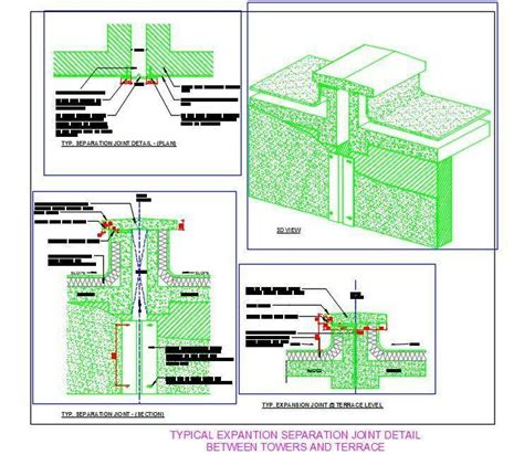 layout book separation expansion separation joint cad details plan n design