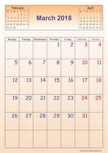 Calendar 2018 March March 2018 Calendar Template Portrait Printable 2017
