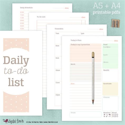 printable planner a4 daily planner printable a4 a5 5 different sheets