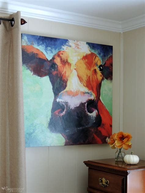colorful cow painting fall decor around my home