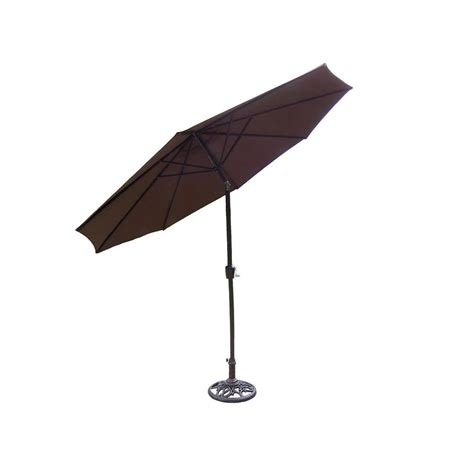 Patio Umbrella And Stand Oakland Living 9 Ft Patio Umbrella In Brown With Stand 4005 4101 2 Ab The Home Depot
