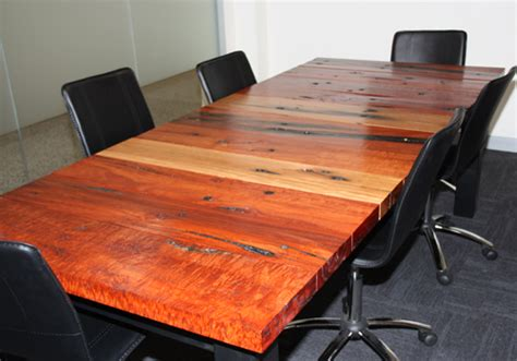 Railway Sleeper Furniture Australia rustic solid timber boardroom tables made from reclaimed
