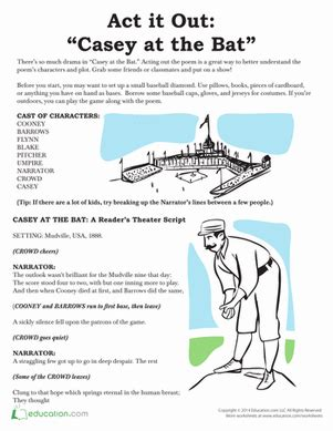 printable version of casey at the bat reader s theater casey at the bat worksheet education com