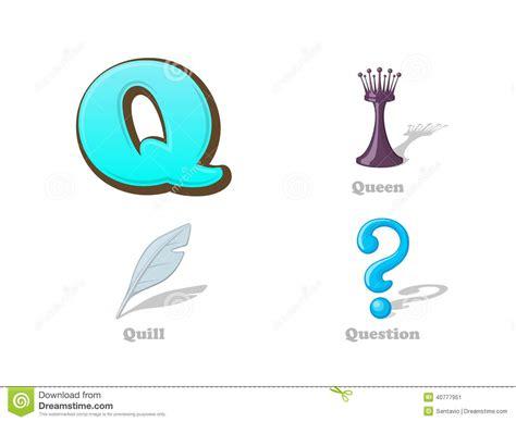 imagenes en ingles con la letra q abc letter q funny kid icons set queen quill question