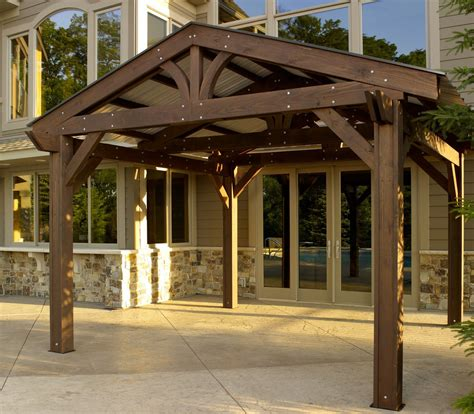 pergola with roof lodge pergola metal roof option roof metal outdoor greatroom