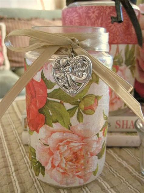 Paper Decoupage Ideas - decoupaging floral wrapping paper or napkins onto glass