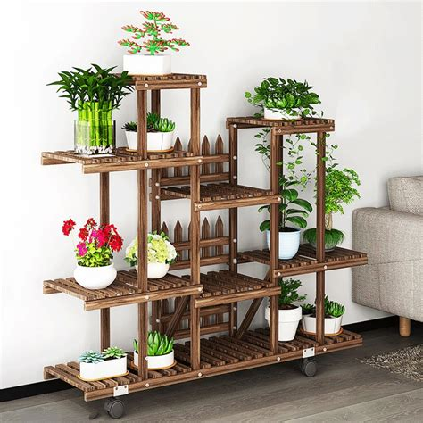 flower rack plant stand multi wood shelves bonsai display