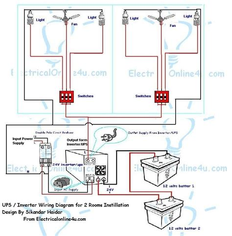 how to instill ups inverter wiring in 2 rooms with