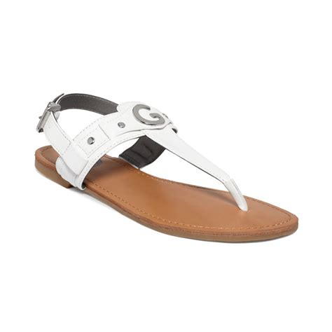 guess flat sandals g by guess womens lundon flat sandals in white lyst