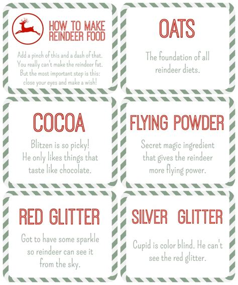 reindeer food free printables reindeer food table tents