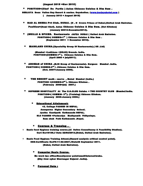 resume of a chef de partie 28 images exle resume for
