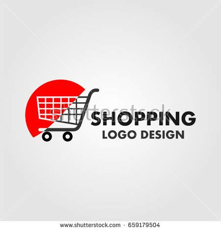 visitor pattern shopping cart shopping cart logo on red half stock vector 659179504