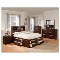 Bedroom Set With Storage Underneath 5 Pc Manhattan Collection Espresso Finish Wood
