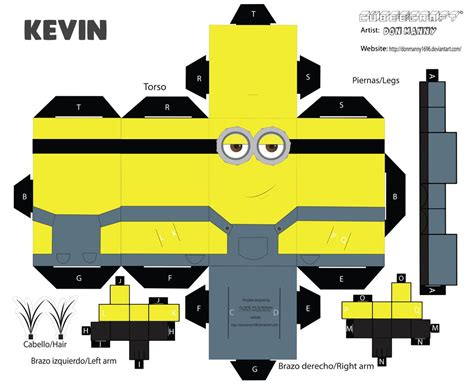 Despicable Me Papercraft - cubeecraft minion kevin by donmanny1696 on deviantart