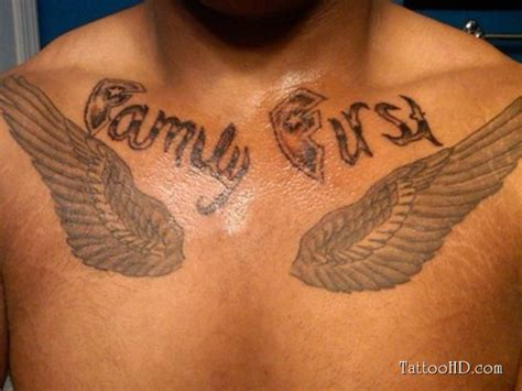 family first chest tattoo family and wings chest