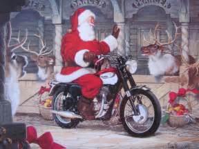 motoblogn santa rides a motorcycle christmas card collection