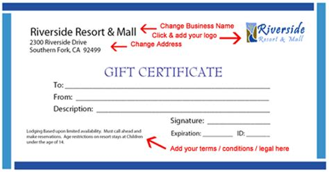 printable gift certificate template instructions