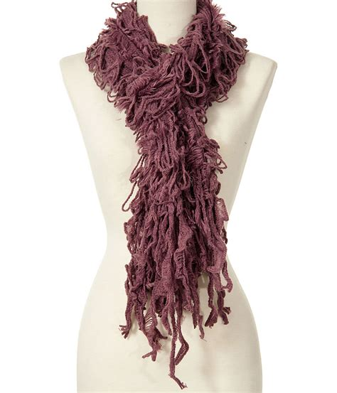 how to knit fringe on a scarf purple shaggy fringe scarf loop knit fringed scarves ebay