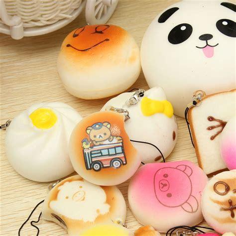 30pcs random squishy soft panda bread cake buns phone