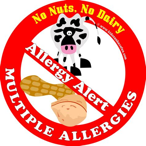 printable allergy alert poster no nuts no dairy multiple allergies alert poster http