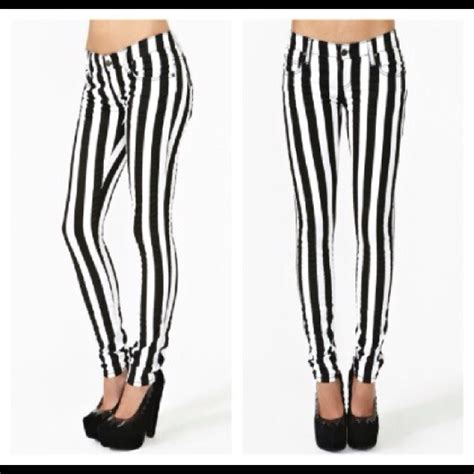 black and white patterned jeans 43 off nasty gal denim black and white striped pants