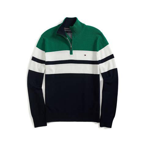 Sweater Inter Blue Half Zipper 1516 hilfiger chest stripe half zip sweater in green for navy lyst