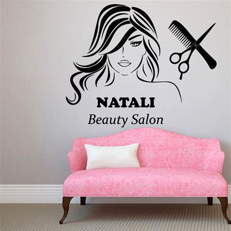 wall lettering decor custom name wall decals hair salon decor logo lettering