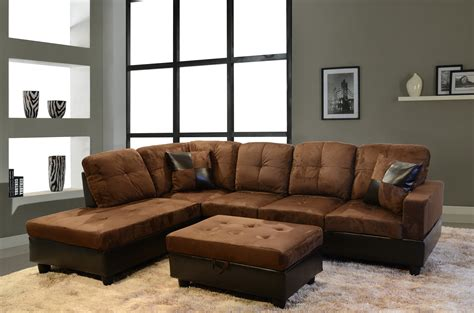 Sectional Sofa Decor Rustic Light Brown Leather Tufted Sleeper Sofa With Rectangle Gray Stained Wooden Coffee Table