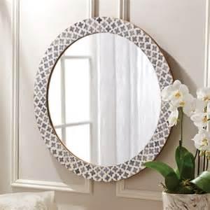 Pearl Gray Bathroom - round mirror with bone inlay british home emporium