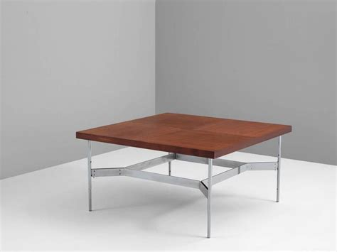 large square coffee table in teak and steel for sale at