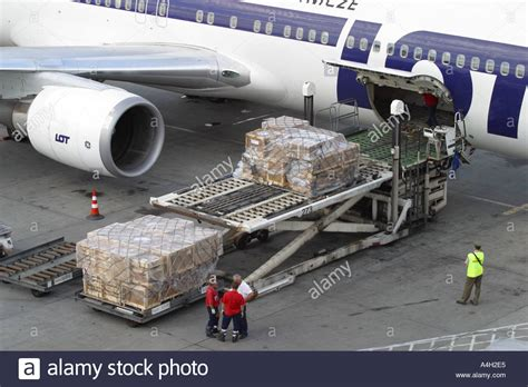 air freight cargo on pallets loaded into the freight hold of a stock photo 2036452 alamy