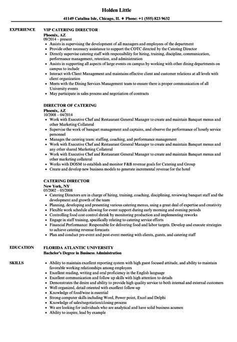 Catering Resume by Catering Director Resume Sles Velvet