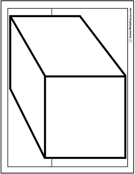 Three D Coloring Pages by 80 Shape Coloring Pages Color Squares Circles Triangles