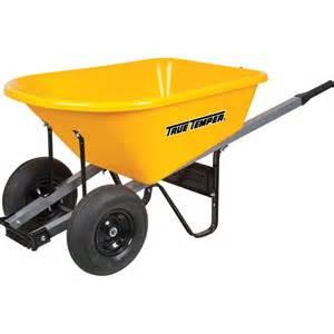 true temper 6 cu ft poly wheelbarrow with dual wheels