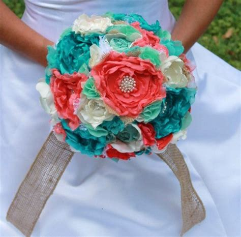 turquoise and coral wedding bouquets ivory coral turquoise mint and burlap by
