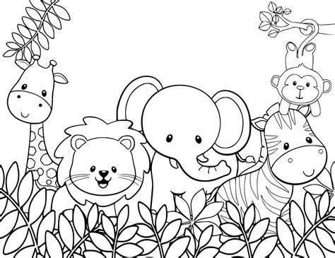Animal Safari Coloring Pages by And Baby Coloring Pages
