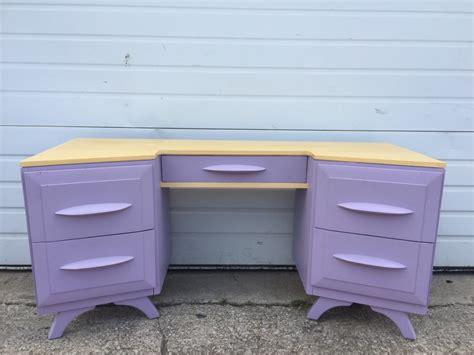 Vanity Dresser For Sale by Vintage Wood Five Drawer Vanity Dresser With Large Mirror