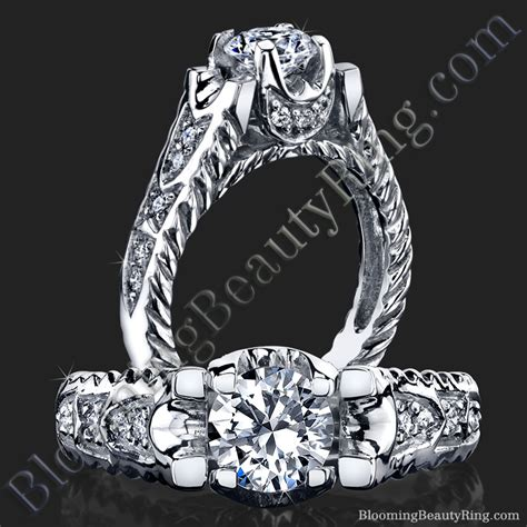 rope style shank engagement ring with accented u
