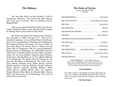 memorial programs templates funeral template program abc