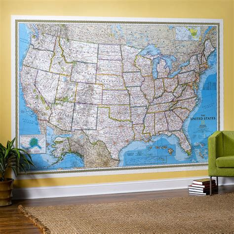 Classic World Map Wallpaper Wall - united states classic wall map mural national