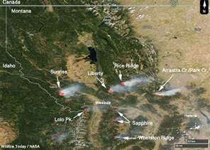 Montana Fire Map by Fires In Western Montana As Seen From Space Wildfire Today