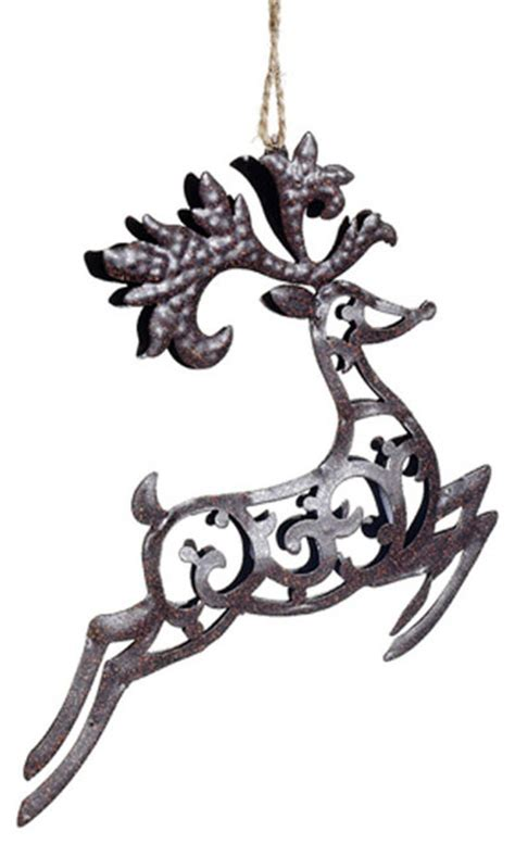 metal reindeer ornament rustic christmas ornaments