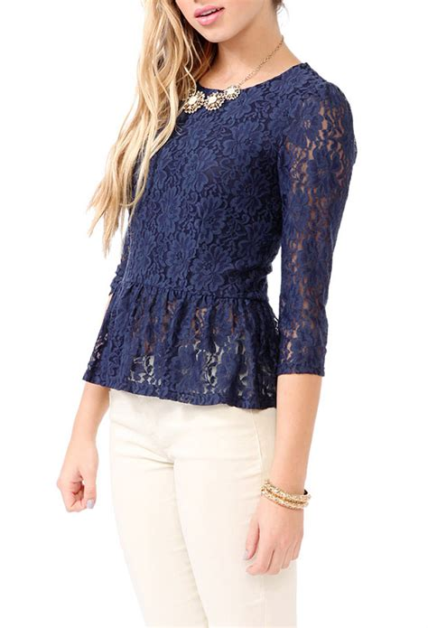 Blue Lace Top forever 21 lace peplum top in blue navy lyst