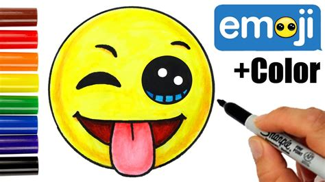 color w how to draw color emoji w winking eye tongue out