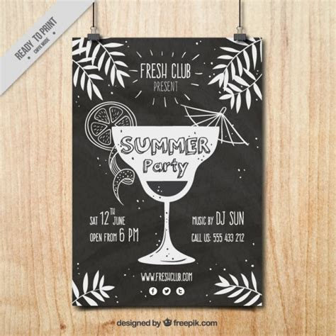 vintage cocktail posters vintage party poster with a hand drawn cocktail vector