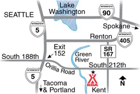 seattle koa map kent washington cground seattle tacoma koa