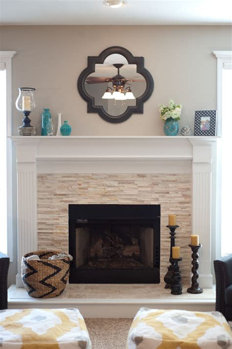 fireplace decorations vintage wall mirror above stone fireplace designs with