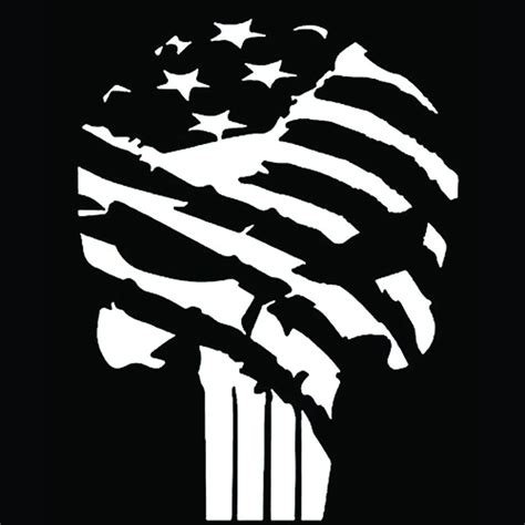 Punisher Skull American Flag Decal Punisher Skull Flag Decal 5 5 Inches Premium Quality White Vinyl Decal Svg Cricut Files