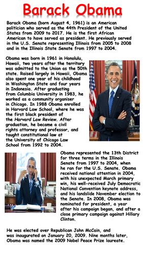 mini biography of barack obama barack obama mini biography by krisgreg30 teaching